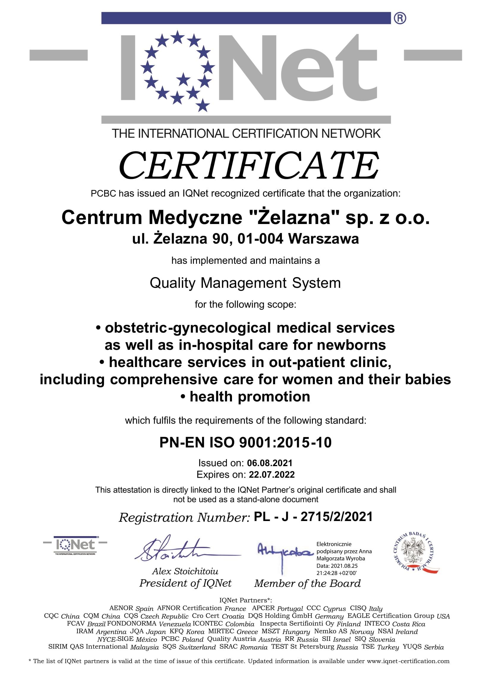 certyfikat jakości dla spółki w języku angielsim