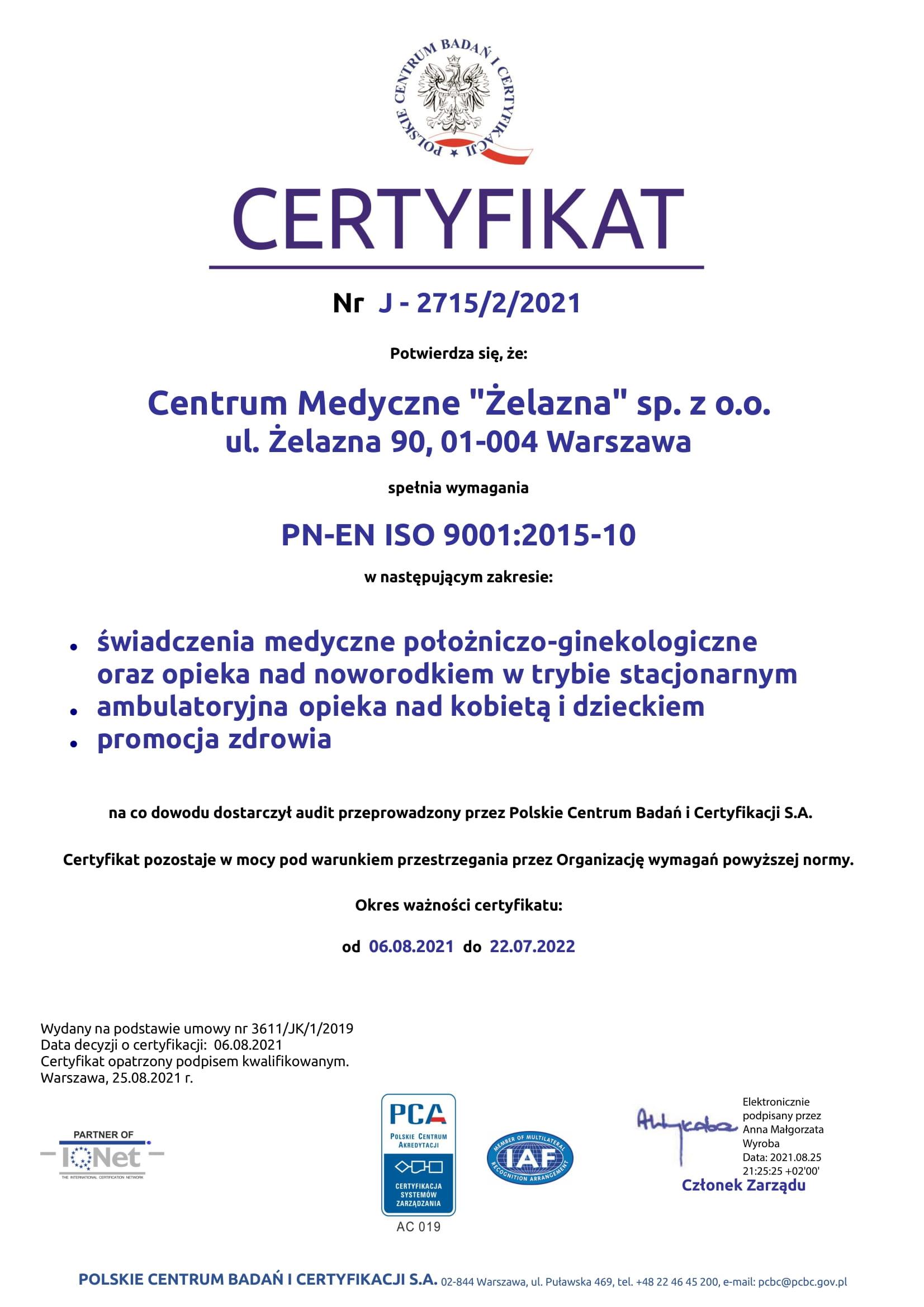 certyfikat jakości dla spółki