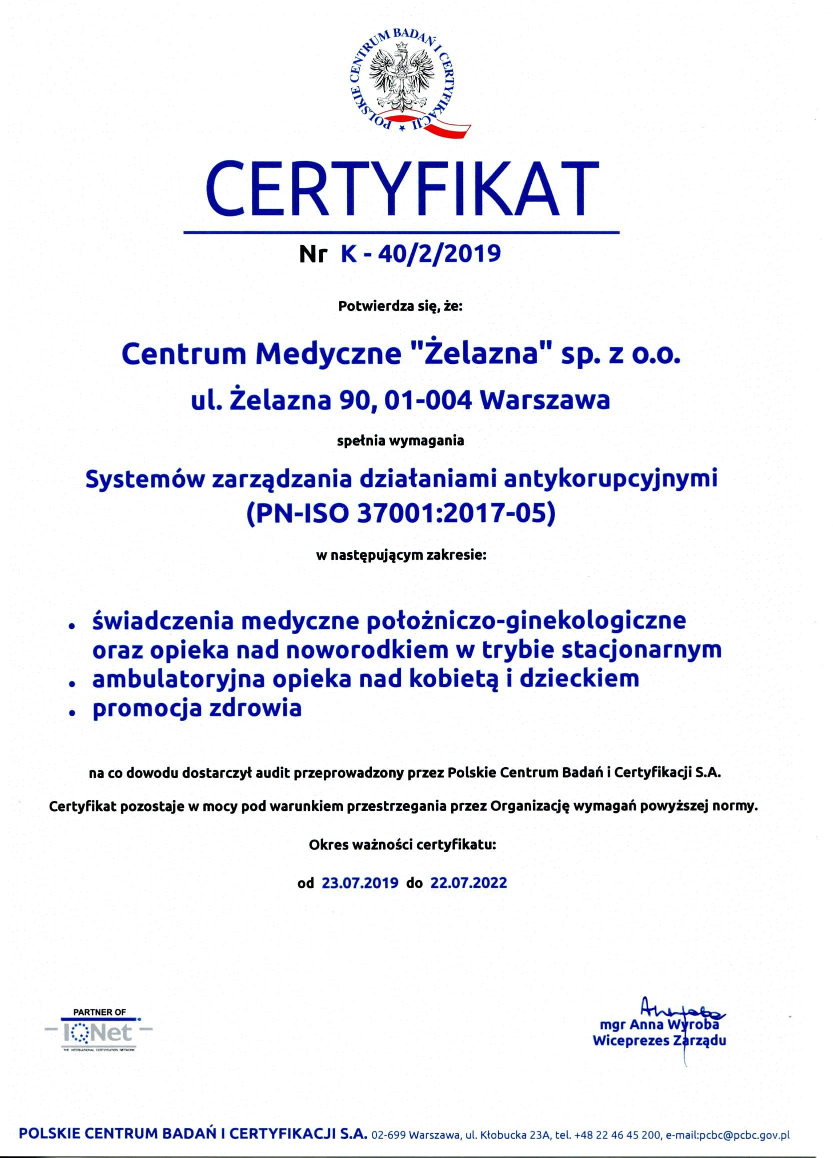 Certyfikat ISO 37001-1
